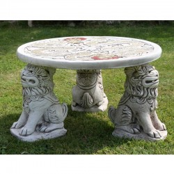 Border Stoneware Foo Dog Table